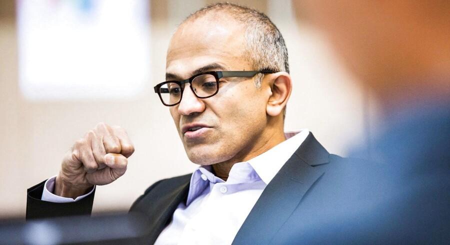 Det er især en lav markedsandel på markedet for smartphonetelefoner og tavle-PCer, den nye topchef i Microsoft, Satya Nadella, skal forsøge at rette op på. Dertil kommer udfordringen med et stærkt faldende salg af traditionelle computere på globalt plan. Foto: Scanpix
