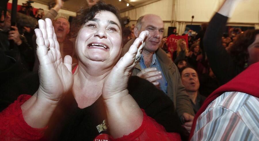 Tilhængere af Syriza fejrer valgsejren i Athen.