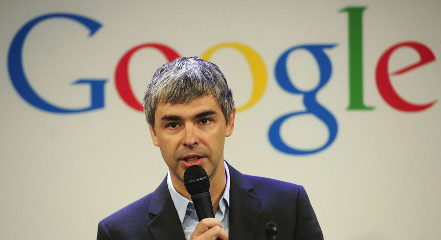 Google CEO Larry Page holds a press annoucement at Google headquarters in New York on May 21, 2012. Google announced that it will allocate 22, 000 square feet of its New York headquarters to CornellNYC Tech university, free of charge for five years and six month or until the university completes its campus in New York. AFP PHOTO/Emmanuel Dunand