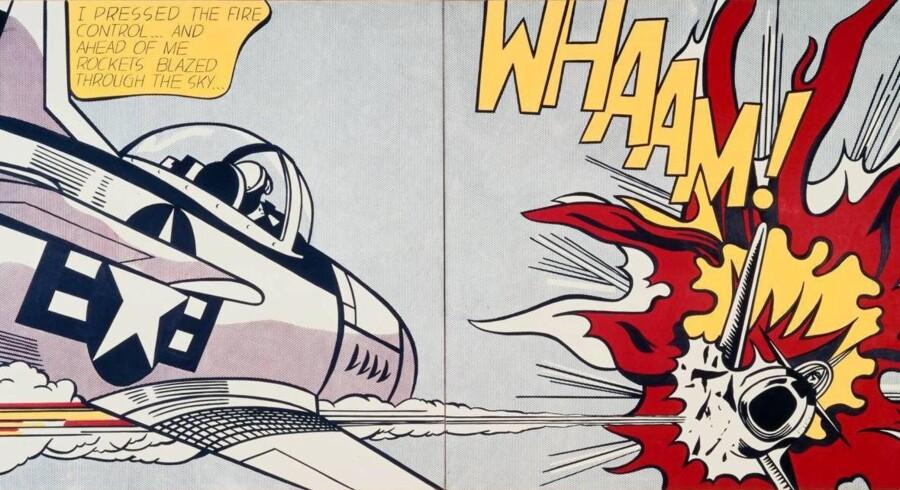 Whaam! - Titlen på Roy Lichtenstein-billedet til venstre fra 1963 siger det meste. Mange af den amerikanske malers billeder har tegneserieverdenens fortællinger om kærlighed og krig som motiv. Her er det krig. Foto: Tate