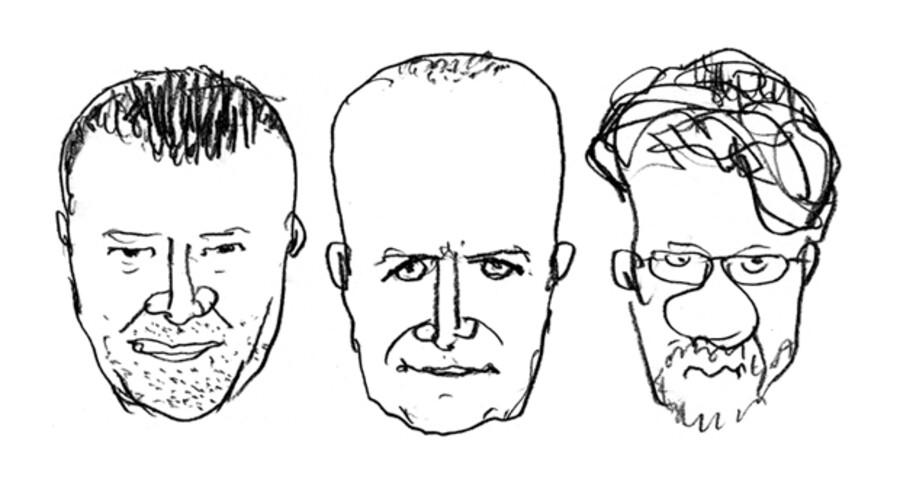 Chefredaktør Tom Jensen, seniorkorrespondent Anders Jericow og bladtegner Lars Andersen diskuterer grænserne for tegnernes ytringsfrihed.