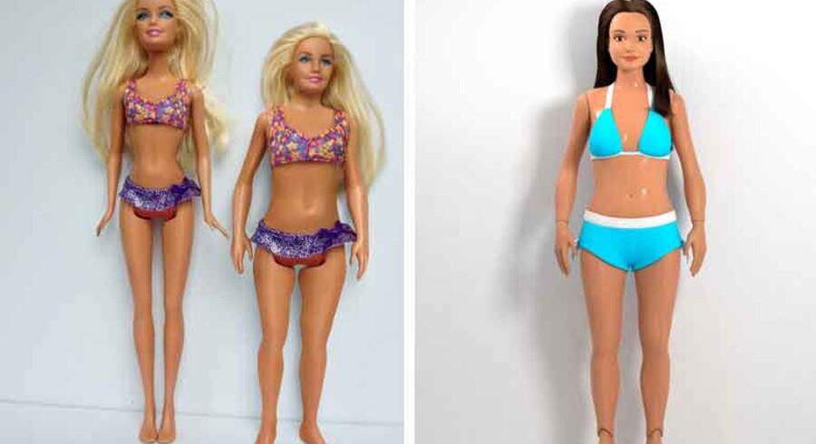 Manden bag den nye »anti-Barbie« (th) er den 26-årige grafiske designer Nickolay Lamm, der sælger den nye dukke på det amerikanske marked med sloganet »Gennemsnitlig er smukt«.
