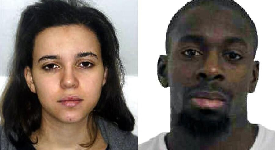 Fransk politi jagter Hayat Boumeddiene (tv). Til højre ses hendes nu dræbte kæreste Amedy Coulibaly, der var gidseltager i den jødiske butik i Paris.
