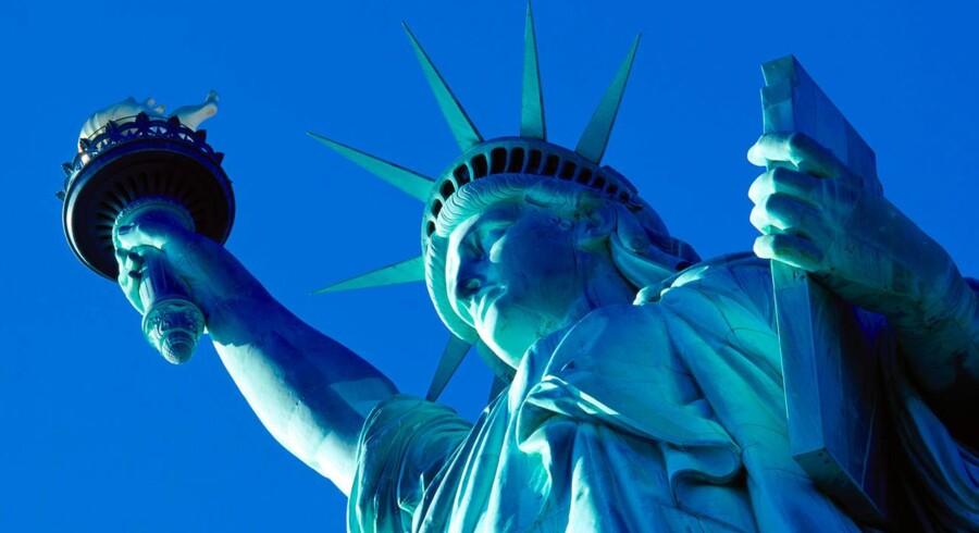Frihedsgudinden - en af New Yorkd og hele USAs mest kendte seværdigheder. USA er sammen med Spanien danskernes bedste rejselande.