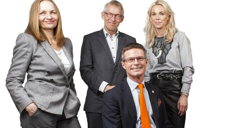 Portræt af de fire skribenter i Berlingske Business Søndag Merete Wedell-Wedellsborg, Alfred Josefsen, Stephen Bruyant-Langer og Charlotte Mandrup.