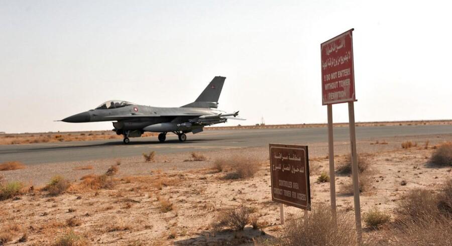 ARKIVFOTO 2014 af danske F-16 kampfly i Ahmed Al Jaber basen i Kuwait. (Foto: Forsvarskommandoen/Scanpix 2015)