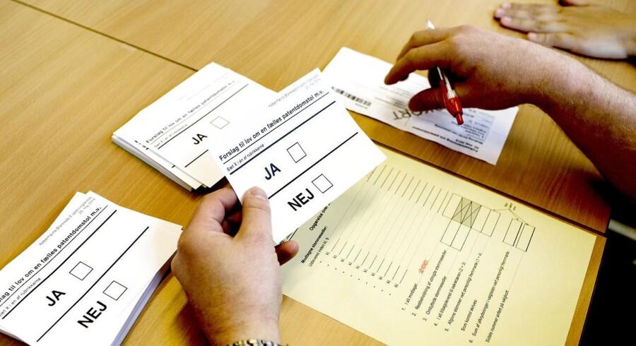 Danskerne skulle til folkeafstemning om patentdomstolen og sætte kryds til Europa-Parlamentsvalget søndag d. 25. maj 2014.