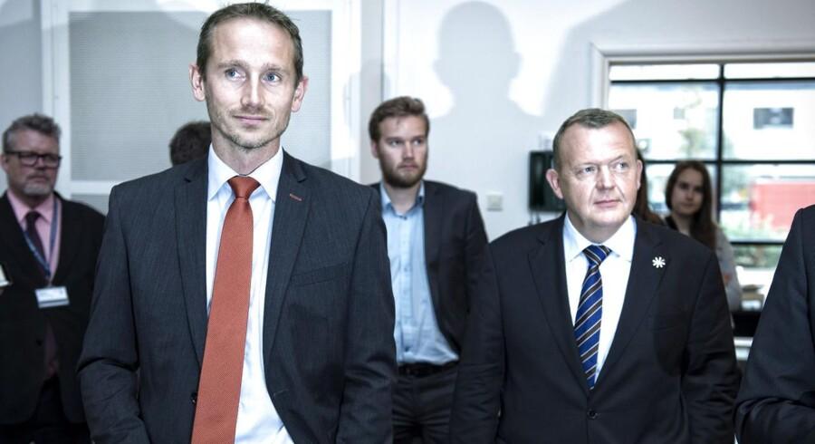 ARKIVFOTO: Lars Løkke Rasmussen, Kristian Jensen og partisekretær Claus Richter forud for Venstres landsmøde i Herning.