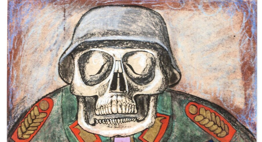 """Forfatter Tom Buk-Swienty har udgivet en ny bog """"Det ensomme hjerte"""". Bogen handler om en tysk soldat og hans oplevelser før, under og efter 2. verdenskrig. Soldaten flyttede efter krigen til Danmark, var læge og skrev 5000 autobiografiske sider, som tom Buk-Swienty fik overleveret af soldatens børn efter soldatens død. Her ses en af tegningerne fra erindringerne."""