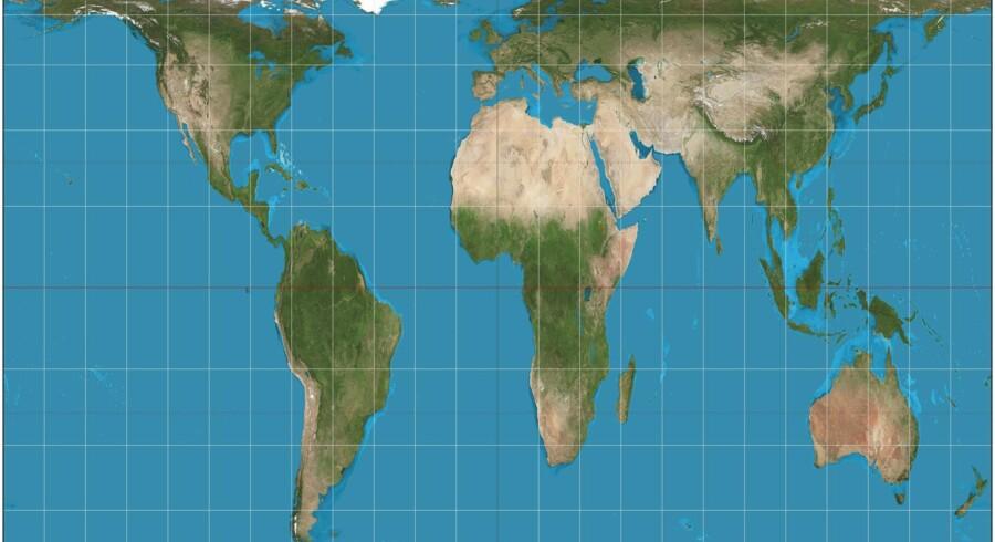 Peters projektion: Korrekt gengivelse af landmassers størrelse, men med forvrænget form.