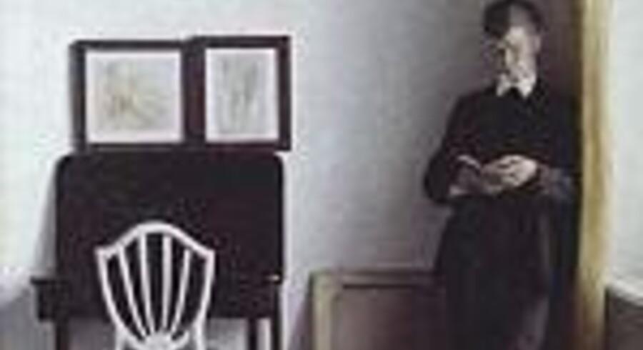 Udstillingen i Hamburger Kunsthalle af lån fra Den Hirschsprungske Samling strækker sig fra guldaldermalerne til symbolisterne. Dette Hammershøi-billede fra omkring 1896 hedder »Interiør med læsende ung mand«. Pressefoto: Hamburger Kunsthalle.