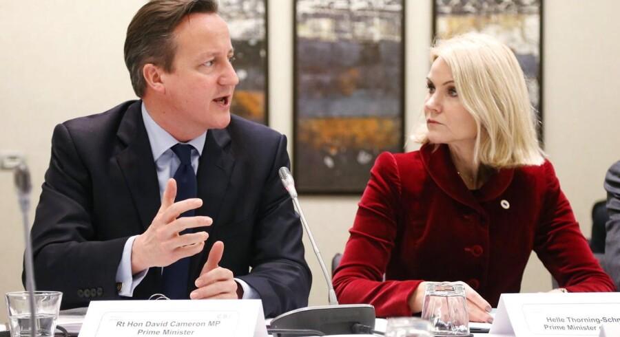 Den britiske premierminister David Cameron og statsminister Helle Thorning-Schmidt (S) under et møde tidligere på året i Bruxelles.