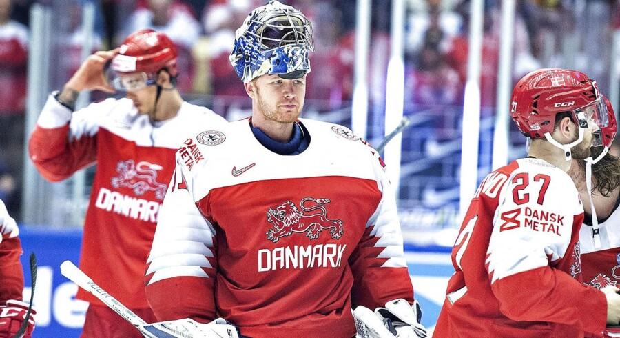 Det danske hold fotograferet under kampen mod Sydkorea, 12. maj.
