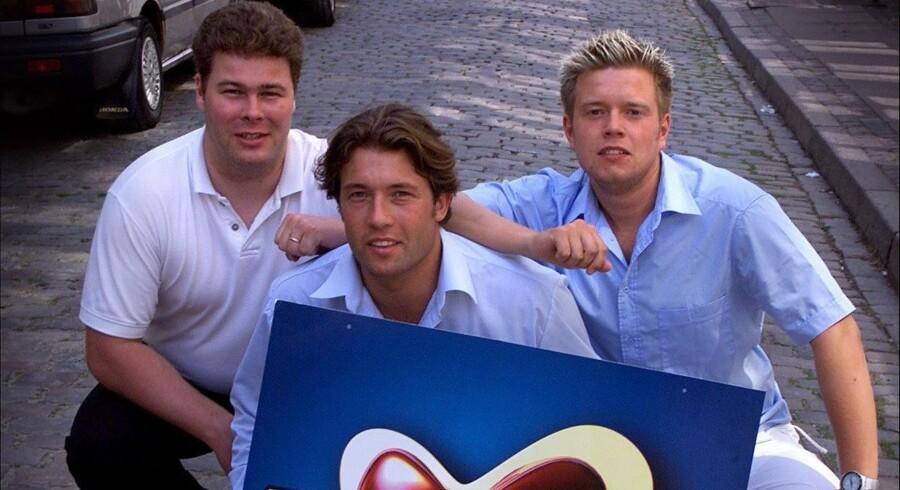 I 1998 stiftede Henrik Back (fra venstre), Morten Wagner og Peter Sønderby Dating.dk. Til at begynde med oprettede de tre venner falske kvindelige profiler, da de frygtede, at kvinderne ville holde sig væk.  Foto: Thomas Sjørup