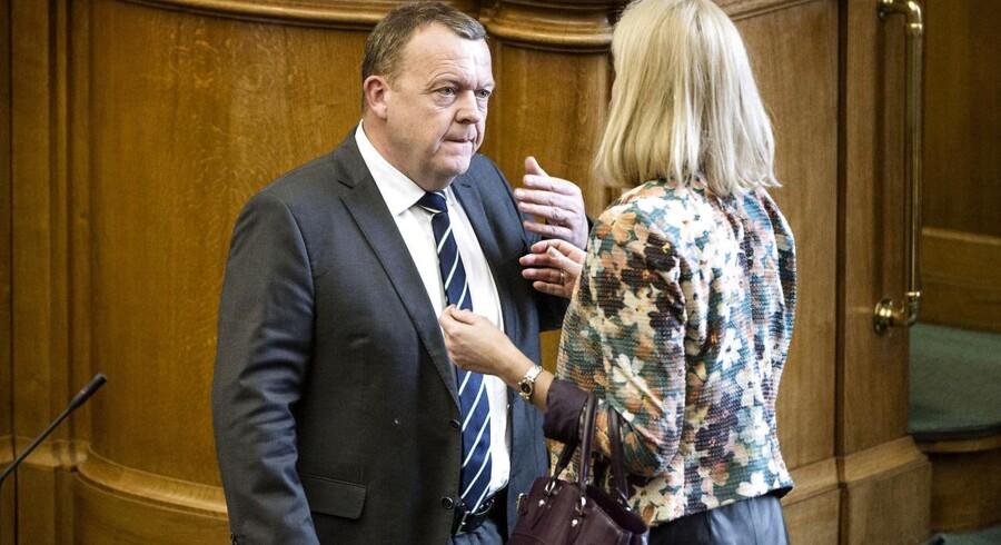 Spørgetime i Folketinget tirsdag d. 24. marts 2015. Lars Løkke Rasmuusen (V) og Helle Thorning-Schmidt (S) i samtale.