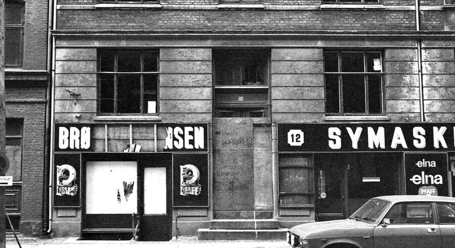 1981. Sanering i ´Den Sorte Firkant ´ på Nørrebro 1981, mange ejendomme blev revet ned. Her en kondemneret ejendom, tømt for beboere og handlende.
