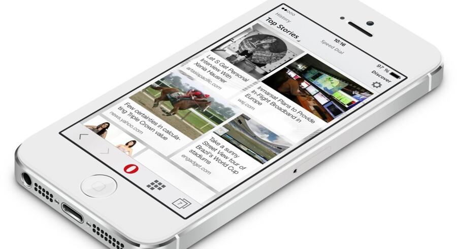 Opera Mini findes også til Android- og iOS-telefoner (iPhone-telefoner), her på en af de sidstnævnte. Foto: Opera