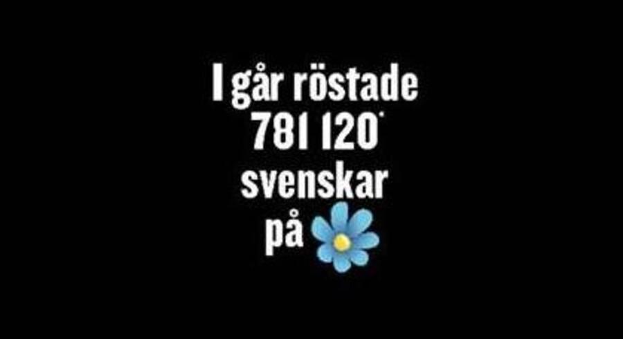 Den svenske formiddagsavis Expressen bragte mandag morgen en forside helt i sort som en kommentar til Sverigedemokraternes massive fremgang.