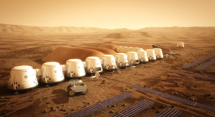 Sådan forestiller den hollandske mission Mars One sig, at den kommende bebyggelse på Mars kan komme til at se ud.