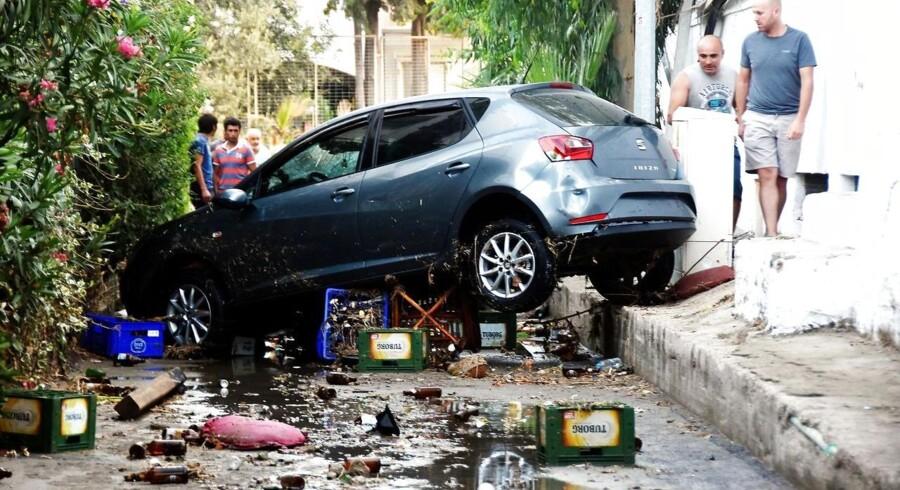 Billede af jordskælvets ødelæggelser i Bodrum, Turkiet.