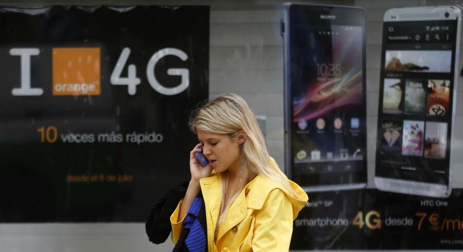 4G/LTE giver meget højere datahastigheder på mobilnettet, men udstyret, der skal sættes op, kræver store investeringer af teleselskaberne. Flere er begyndt at tvivle på, om det kan betale sig. Arkivfoto: Sergio Perez, Reuters/Scanpix