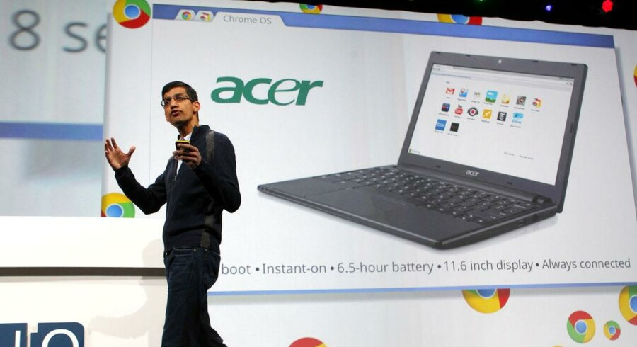 Acer kommer i denne måned med en PC med Google Chrome OS som styresystem. Den blev i maj fremvist af Googles Sundar Pichai. Arkivfoto: Beck Diefenbach, Reuters/Scanpix