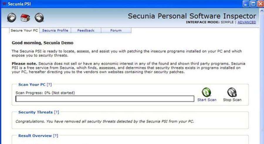 Det lille PC-program Secunia PSI er i gang med at kontrollere, om alt på computeren er i nyeste - og dermed sikreste - udgave.