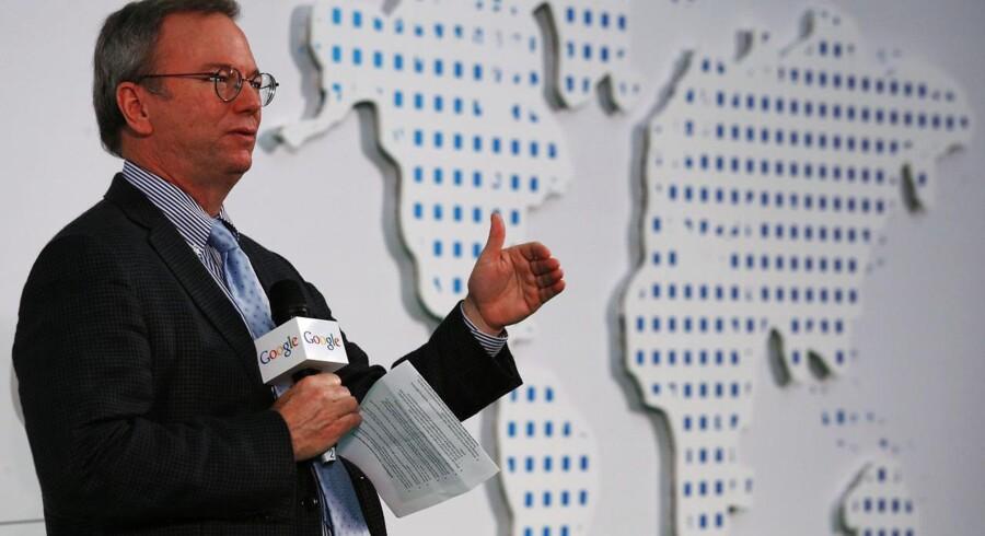 Googles bestyrelsesformand, Eric Schmidt, er bestyrtet over nye afsløringer af efterretningstjenesten NSAs massive overvågning. Foto: Bobby Yip, Reuters/Scanpix