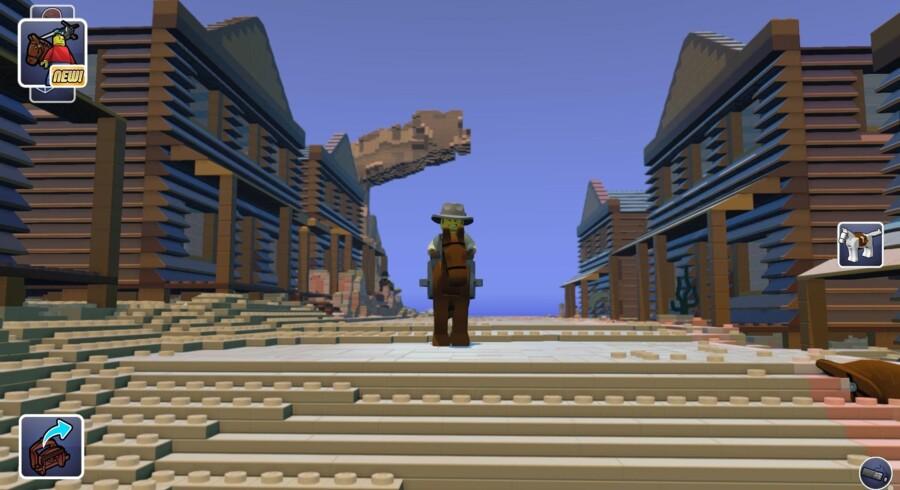 Så skal der bygges og udforskes. Lego Worlds er klar i en prøveudgave, hvor man kan bevæge sig rundt og kikke ind overalt og siden bygge verden om. Foto: Lego Worlds