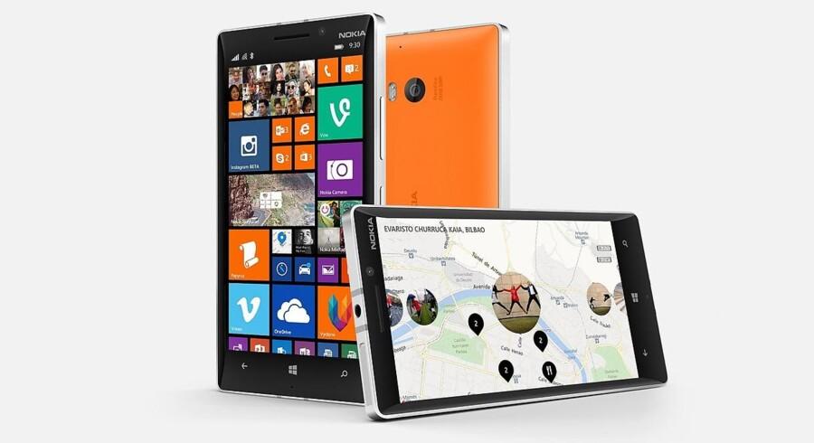 Nokias Lumia-serie udvides med tre telefoner, heriblandt 930, som har en skærm på fem tommer og et kamera med en opløsning på 20 megapixler. Foto: Nokia