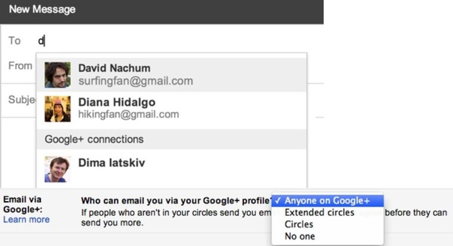 Med den nye funktion får man - ud over forslag fra sin egen adressebog - navneforslag fra alle Google+-brugere, og man skal selv slå det fra, hvis man ikke ønsker, at andre skal få adgang til at kunne sende én beskeder.