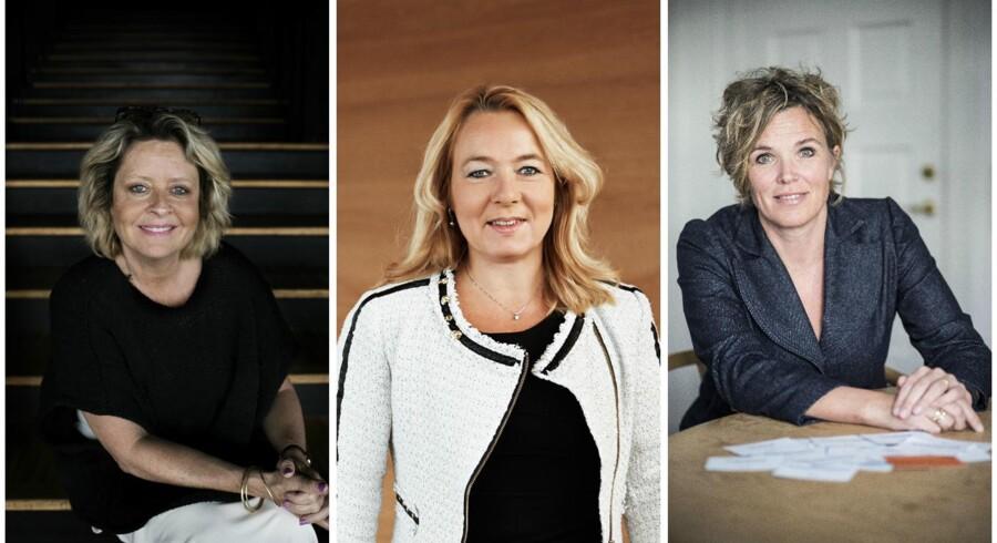 Hvis der skal flere kvinder på ledelsesgangene, kræver det, at de går på kompromis med nogle af kravene, lyder det fra Stine Bosse (venstre), Tina Larsen (midtfor) og Eva Zeuthen Bentsen (højre), der selv har taget vejen til erhvervslivets top.