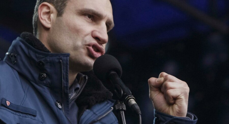 Vitali Klitsjko ved en demonstration mod den tidligere regering tidligere på måneden.