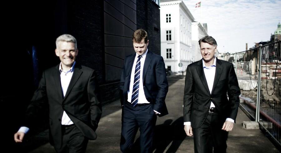 Kapitalfonden Axcel køber EG fra Nordic Capital for et ikke-oplyst beløb. Her ses tre af partnerne i fonden.