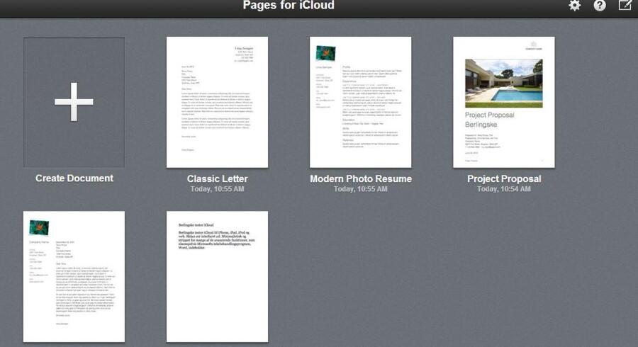 Apple har lanceret en opdatering til iCloud, der blandt andet byder på gratis tekstredigering. Foto: Screenshot/Apple