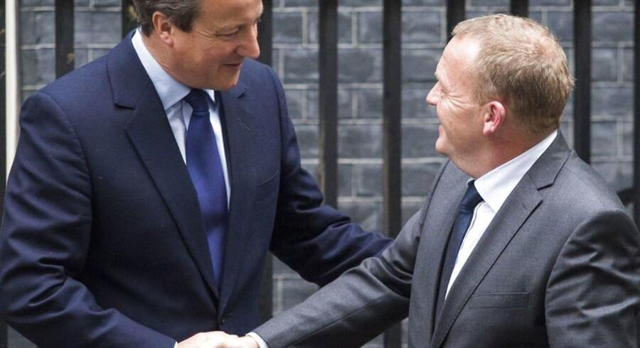 ARKIVFOTO: Englands premiereminister, David Cameron, og den danske statsminister, Lars Løkke Rasmussen, holder pressemøde i Downing Street 10 i London.