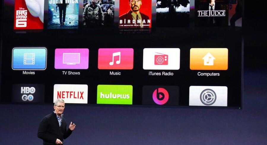 Adm. direktør i Apple, Tim Cook, til et event i marts 2015. Rygter om, at Apple vil begynde at producere film og tv i 2016, hænger fint sammen med rygterne om en opgraderet version af Apple TV, som ventes at blive præsenteret onsdag.