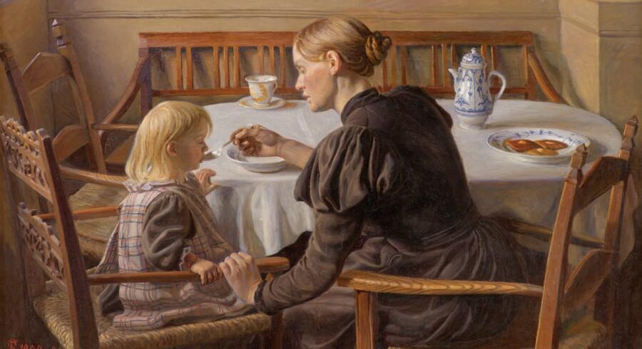 Familien blev et hovedmotiv hos Fritz Syberg, og det er det, udstillingen på Ordrupgaard handler om. Dette maleri fra 1899 hedder »Moder og datter«. Pressefoto