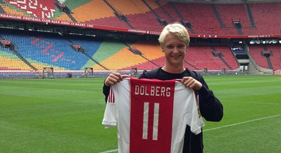 Ajax-angriberen Kasper Dolberg kommer ikke med i U21-landsholdets kommende kampe. Free/Silkeborg If