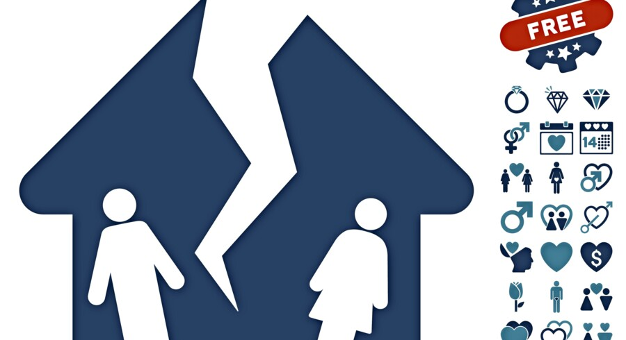 Divorce House pictograph with bonus marriage pictograms. Vector illustration style is flat iconic cyan and blue symbols on white background.