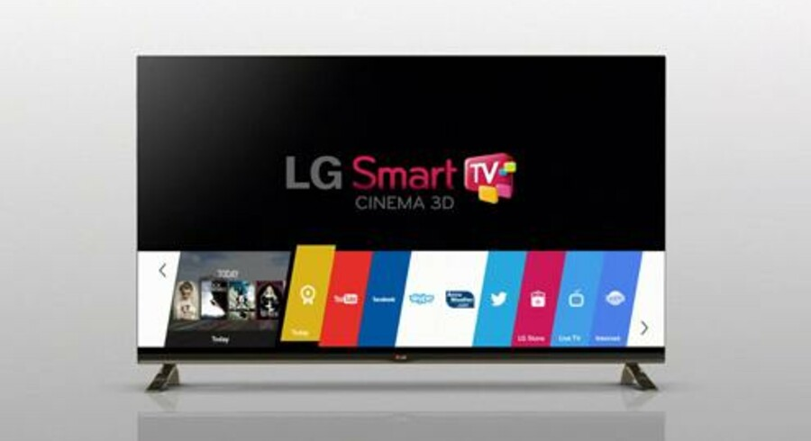 Sådan ser den nye brugerflade ud på LGs smart-TV-fjernsyn. I menuen med de farvede bjælker kan man hurtigt skifte mellem TVets mange funktioner uden ventetid. Foto: LG
