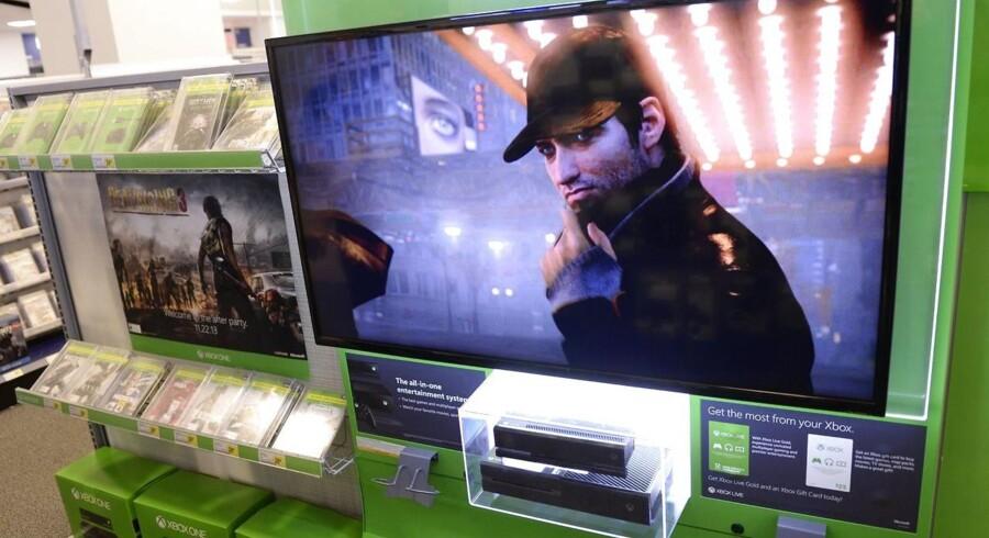 Microsofts nye spilkonsol Xbox One er her klar i en Best Buy-forretning i New York forud for salget, der åbner natten til fredag.