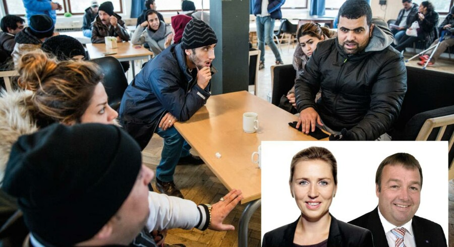Den såkaldte trappemodel, hvor flygtninge og indvandrere sideløbende med sprogundervisning får tilbudt ulønnet praktik og efterfølgende løntilskud, er en god måde at integrere på, skriver Mette Frederiksen og Claus Jensen, som ikke giver meget for indslusningsløn. På billedet er irakiske flygtninge samlet i Auderød Asylcenter.