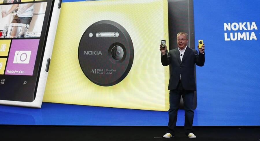 Nokia-chef Stephen Elop ved præsentationen af den nye Lumia 1020-telefon i sidste uge.