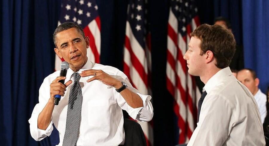 USAs præsident Barack Obama blev ringet op af Facebook-stifter Mark Zuckerberg efter nye afsløringer af den skandaleramte efterretningstjeneste NSAs overvågning, som nu omfatter falske Facebook-servere. Arkivfoto: Justin Sullivan, Getty/AFP/Scanpix