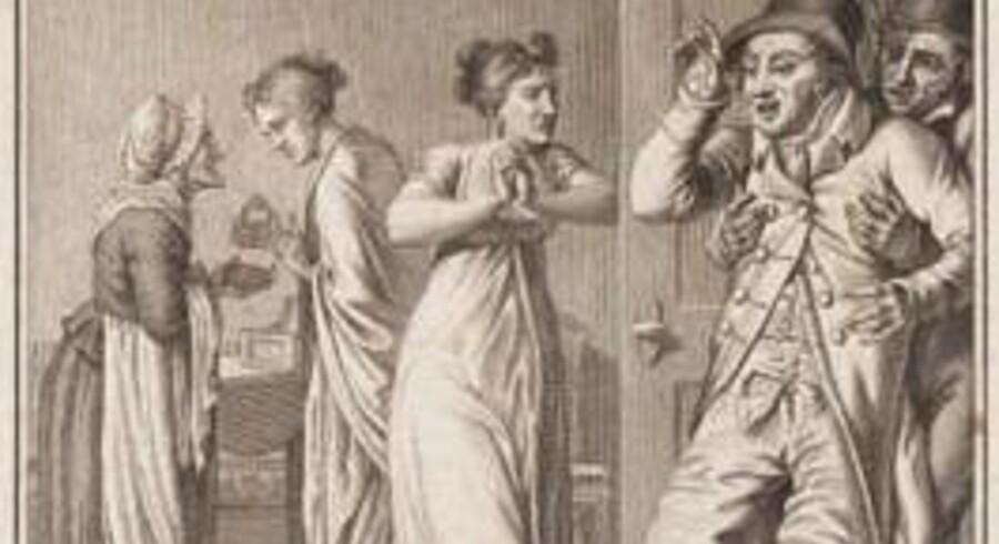 De to versioner af samme billede fra »Lotterisedlen«: På J.F. Clemens' kobberstik er den jødiske pantelåner erstattet af en gammel kone. Foto: Den Hirschsprungske Samling