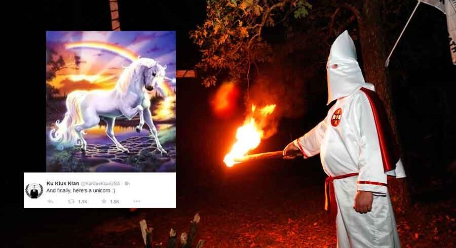 Anonymous offentliggjorde i nat dansk tid et billede af en enhjørning som bevis på, at gruppen rent faktisk har magten over profilen @KuKluxKlanUSA.
