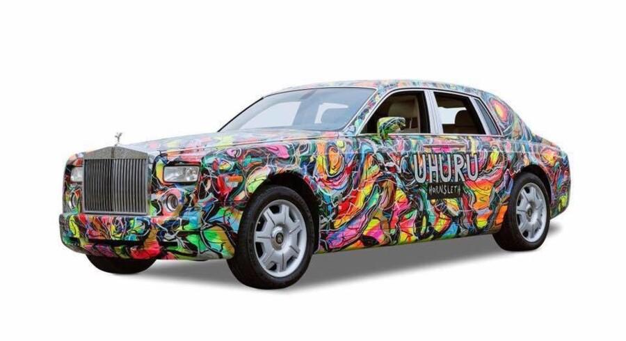 Lars Seier Christensens Rolls Royce efter den har været i hænderne på Kristian von Hornsleth. Foto: Facebook
