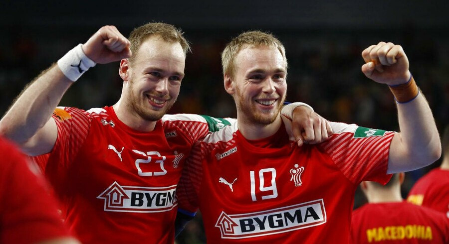 Handball - Men's EHF European Handball Championship - main round Group II - Germany v Denmark - Arena Varazdin, Varazdin, Croatia - January 21, 2018. Henrik Toft Hansen and Rene Toft Hansen of Denmark celebrate after winning the match. REUTERS/Antonio Bronic