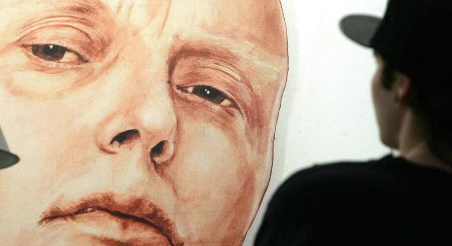 Et portræt af den afdøde KGB-agent Andrei Litvinenko udstillet på Marat Guelman-galleriet i Moskva.